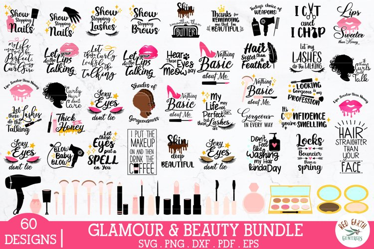 Beauty and Glamour bundle svg,makeup quote bundle,afro woman