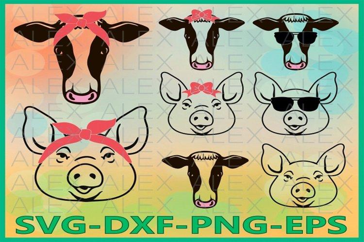 Farm Svg, Pig Svg, Cow Svg, Cow with Bandana