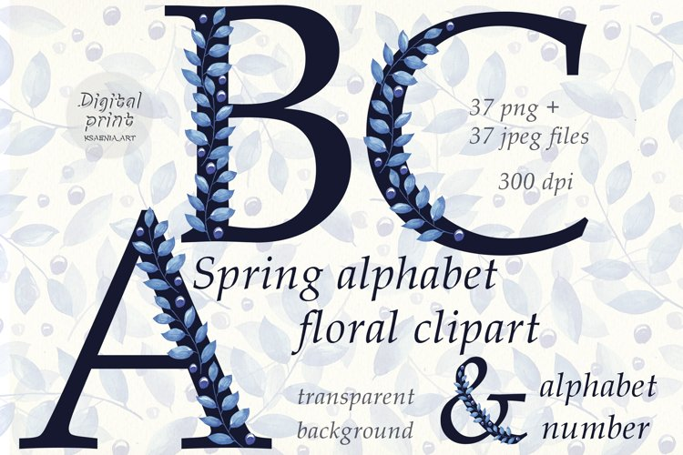 Spring Alphabet Floral Clipart Collection of Letters Numbers