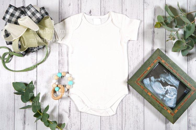 Farmhouse Baby Romper Bodysuit Styled Craft Mockup Photo example image 1