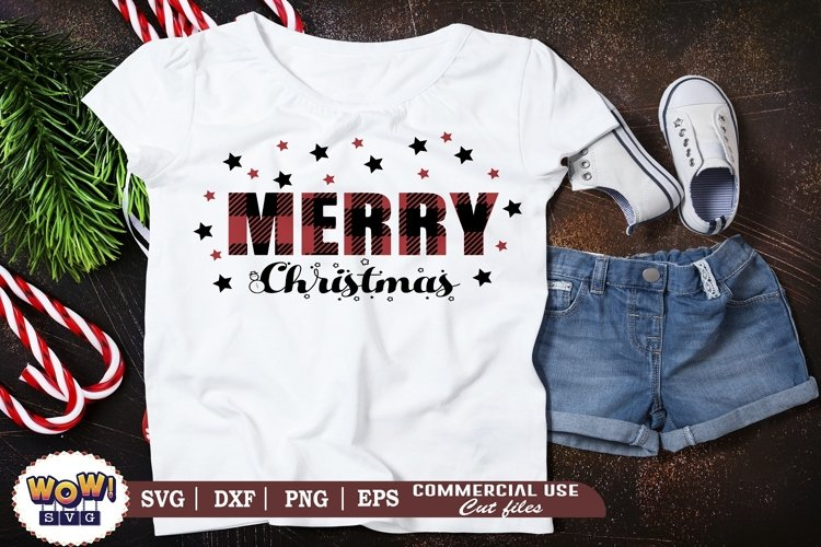 Merry Christmas plaid svg, Merry Christmas svg, Christmas example image 1