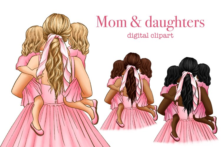 Mom and daughters clipart, mom and baby clipart, family
