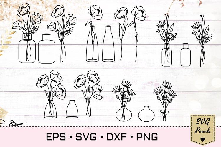 Wildflowers in vases bundle SVG set example image 1