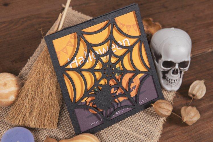 Spider Web Halloween Invitation cutting file example image 1