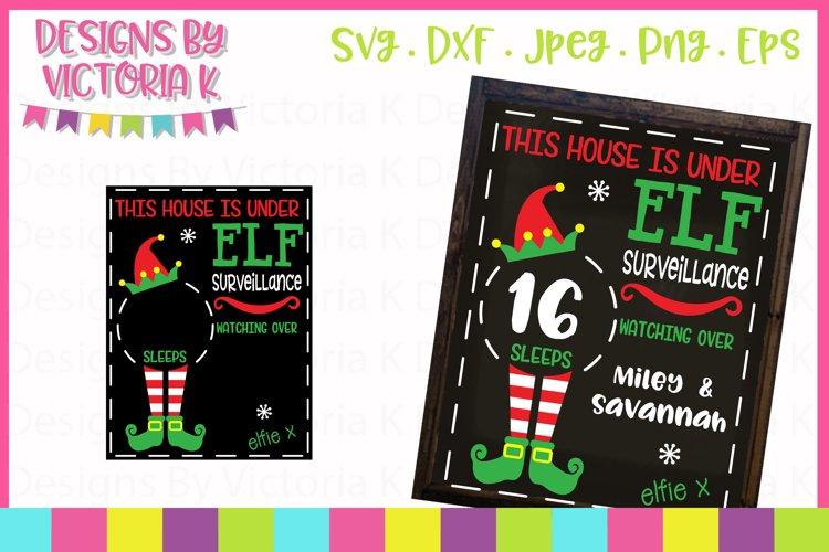 Elf Christmas Countdown Chalkboard Design SVG Cut File