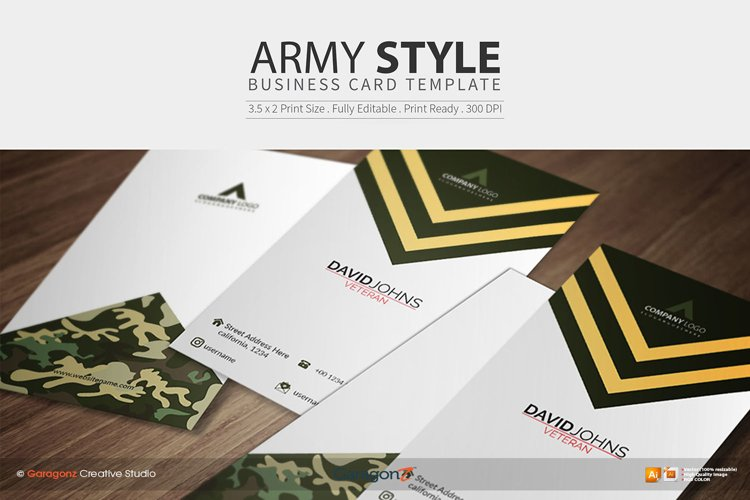 Army Style Business Card Template example image 1