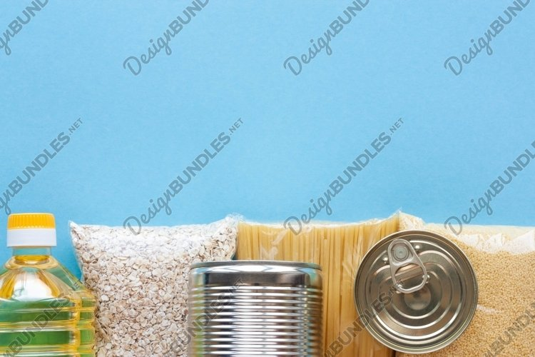 Set of grocery items on blue background example image 1