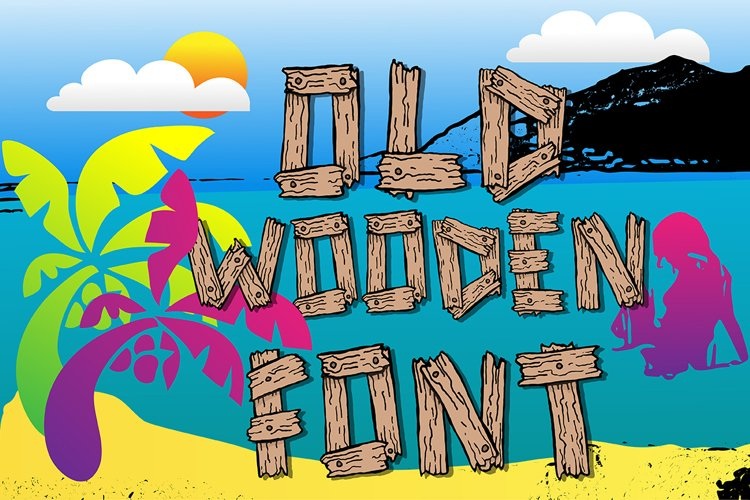 Summer old wooden font example image 1