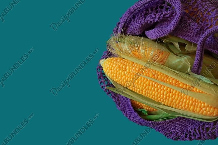 cobs of raw corn lie in natural purple cotton eco bag