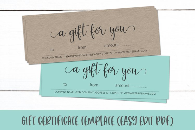 Gift Certificate Template   Editable Gift Card PDF example image 1
