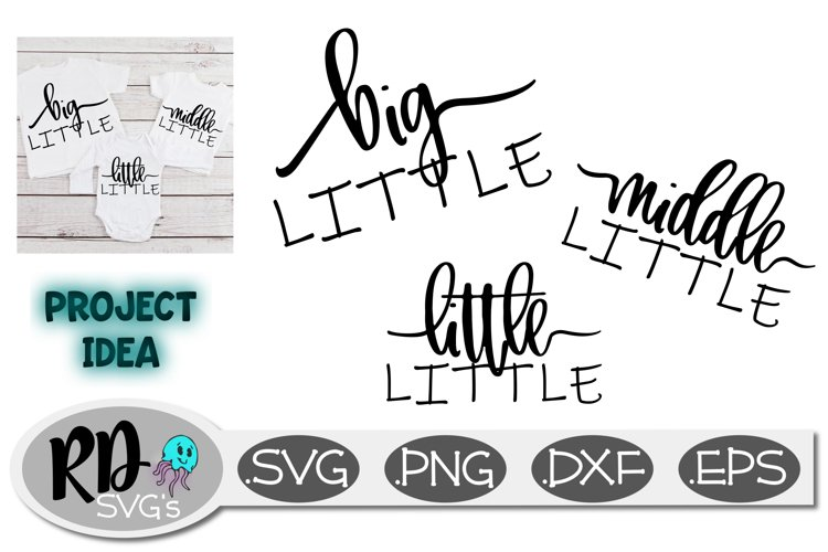 Big, Middle, and Little Little - A set of family cut files example image 1