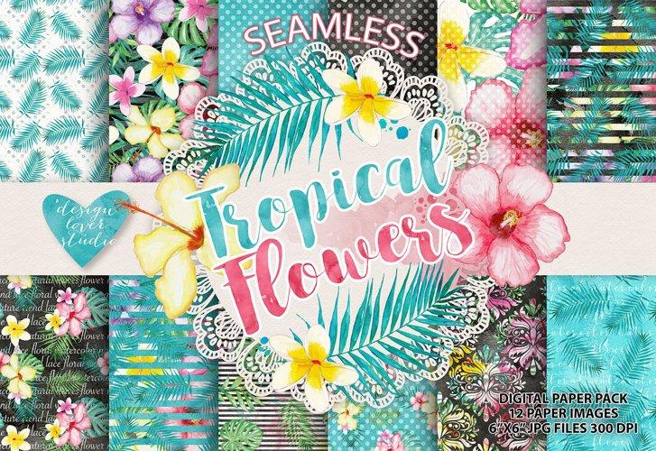 Watercolor Tropical flowers digital paper