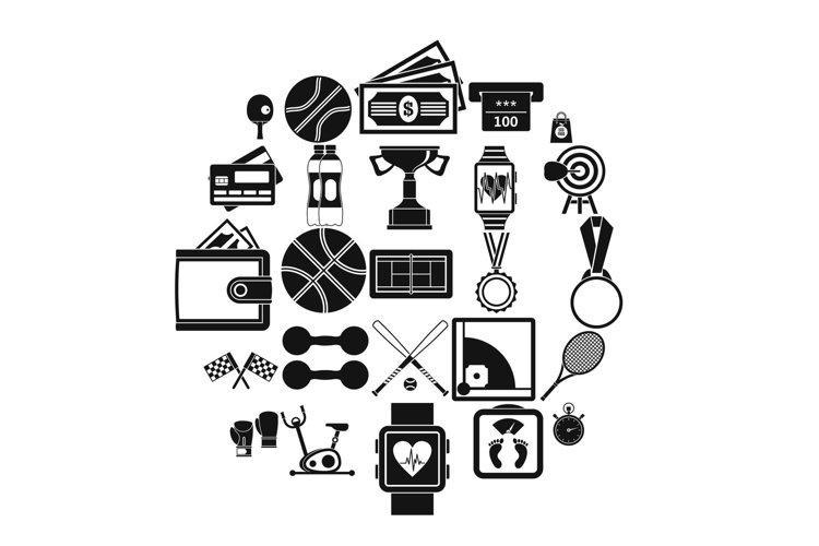 Basketball training icons set, simple style example image 1