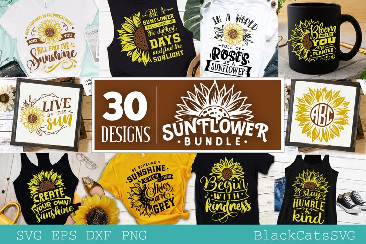 Sunflower SVG bundle 30 designs sunshine SVG bundle example image 1