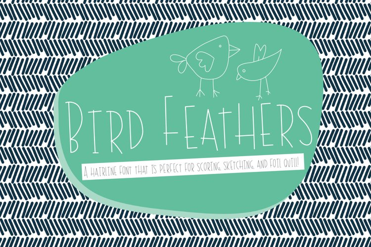 Bird Feathers Hairline Font, Scoring, Sketching, Foil Quill example image 1