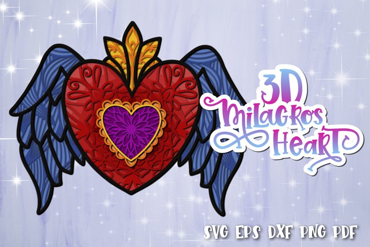 3D Heart svg Layered Milagros hearts 05 SVG