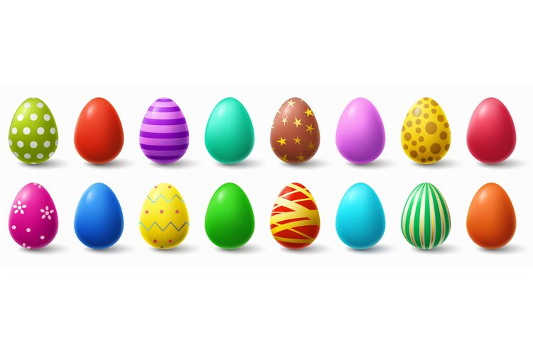 Colorful easter eggs. Holiday chicken egg decor, easter patt example image 1