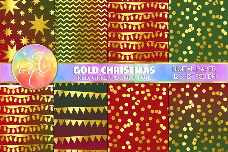 Gold christmas Digital Paper, Digital Background example image 1