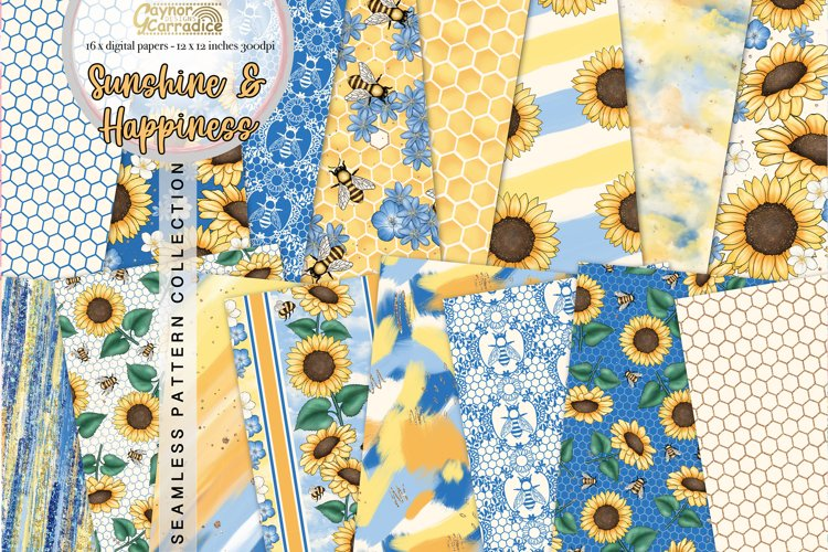 Bees and Sunflowers seamless patterns