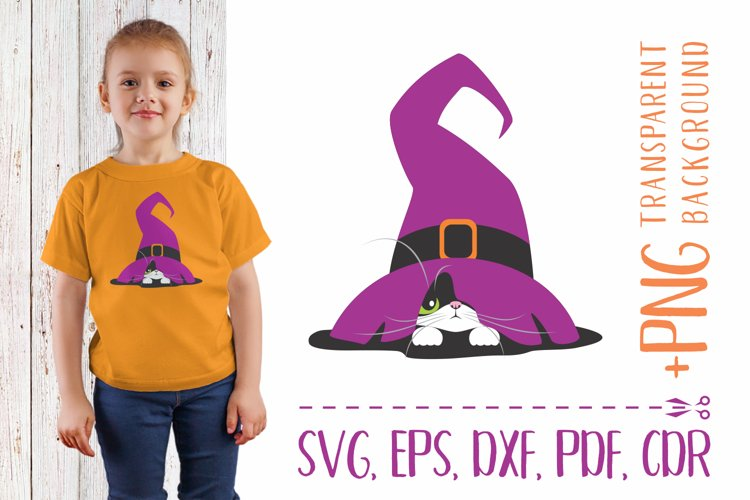 Witchs hat and black cat SVG