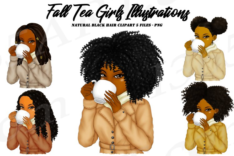 Fall Autumn Tea Sipping Girls Black Woman Clipart PNG
