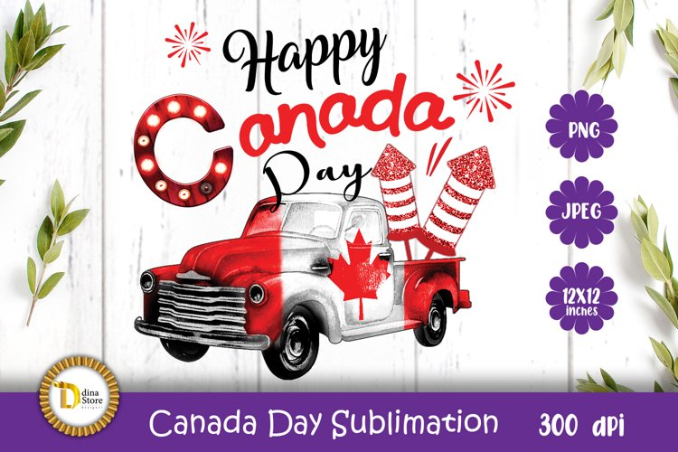 Canada Day Sublimation truck-Happy Canada Day