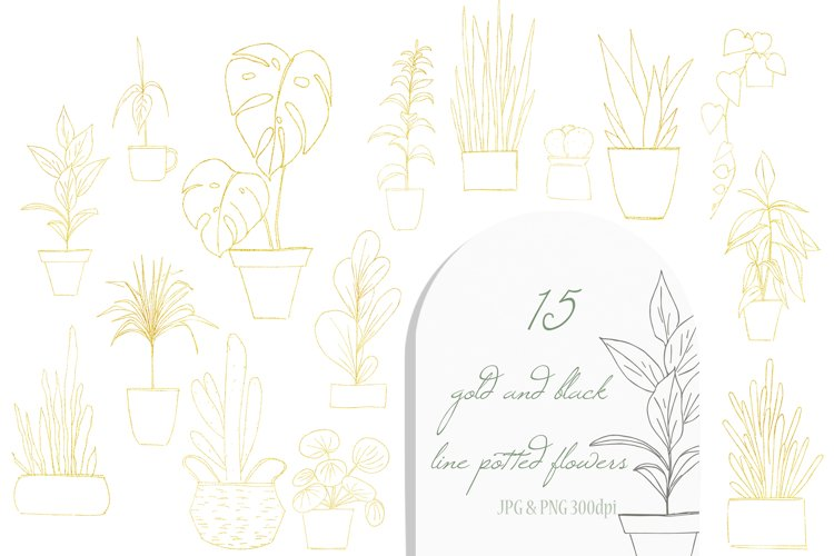 Watercolor Home Plant Clipart Set example 2