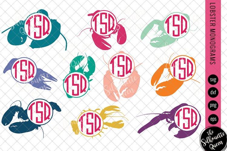 Lobster Svg, Monogram Svg, Circle Frames, Cuttable Design example image 1