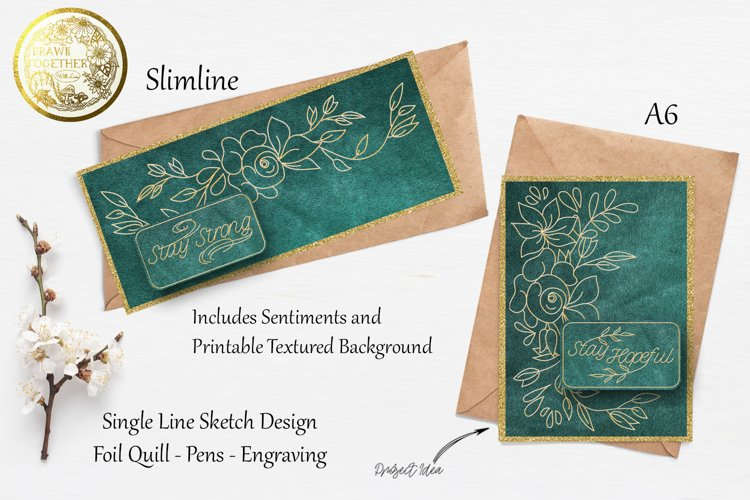 Flower Border Cards - Single line|Foil Quill|Digi Stamps