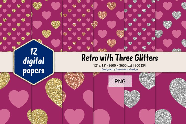 Hearts Retro with Three Glitters Color Combo #12 example image 1