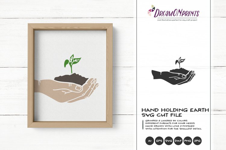 Hand Holding Earth with Seed SVG Cut File example image 1