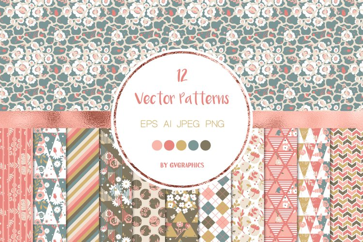 12 Flowers and Geometric Shapes, Vector Seamless Patterns example image 1