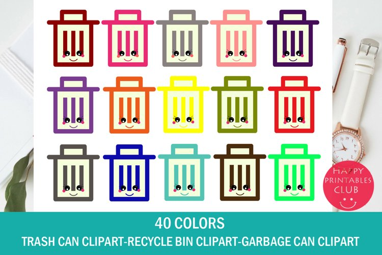 Kawaii Trash Can Clipart-Garbage Bin Clipart-Recycle Bin example image 1