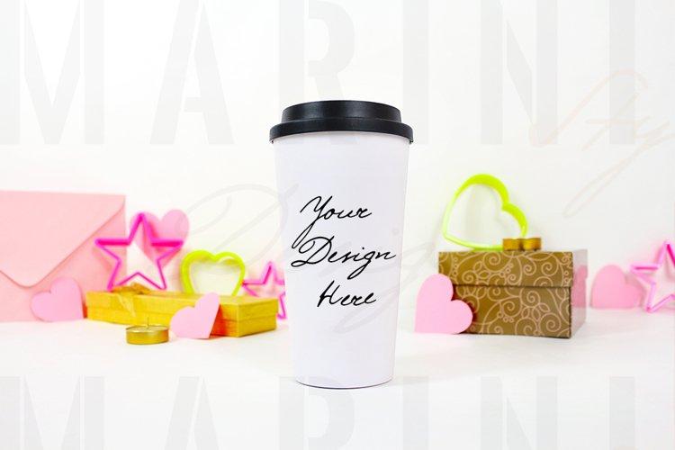 Valentines day travel mug mockup, tumbler mockup, 1169