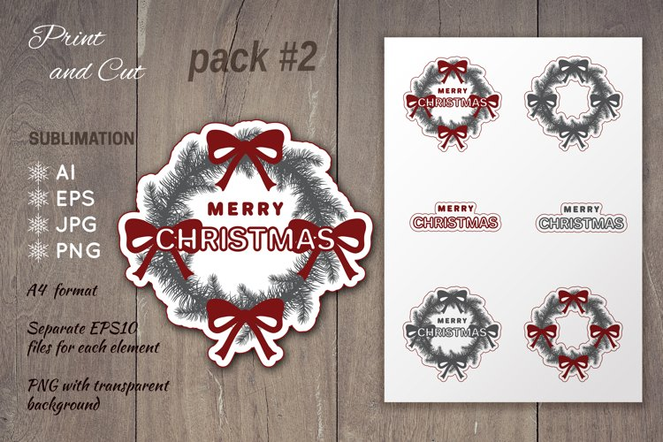 Christmas wreath sublimation | Print and Cut Stickers Pack#2 example image 1