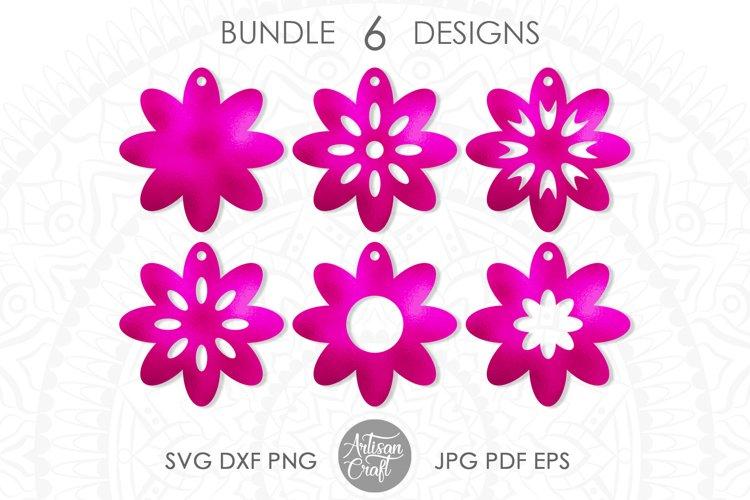 Earring SVG, Flower earrings SVG, leather earring patterns example image 1