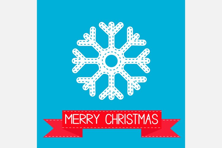 Big snowflake and red ribbon. Merry Christmas card. example image 1