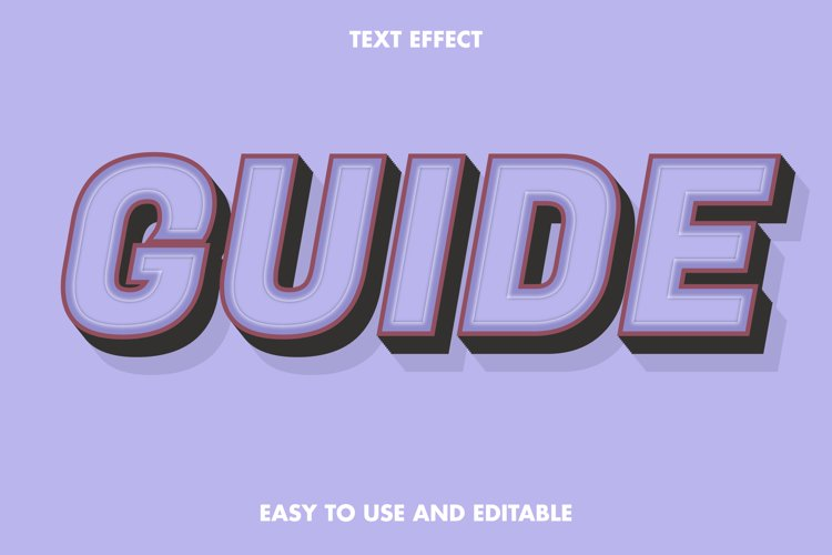 Guide text effect. editable and easy to use. premium vector example image 1