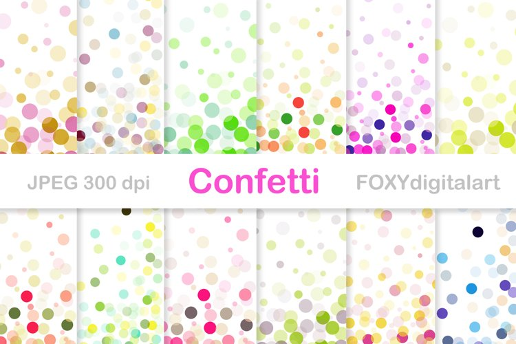 Confetti digital paper pack, throw some confetti, wedding example image 1
