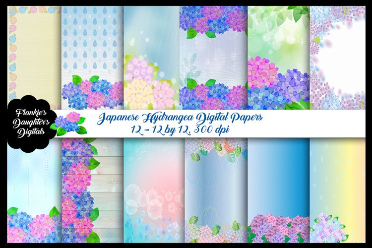 Hydrangea Kawaii Japanese Digital Papers