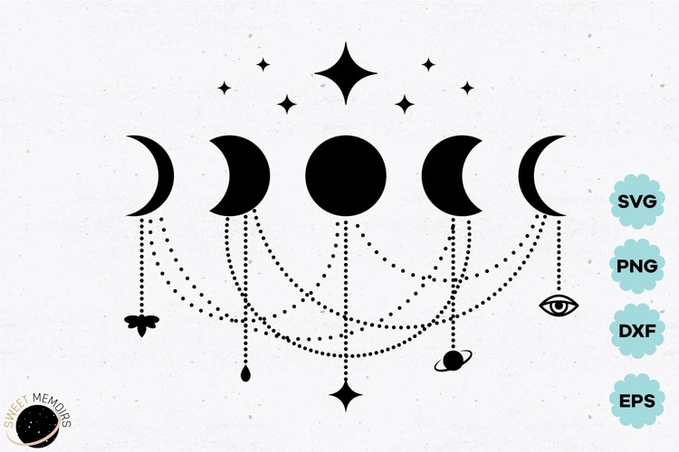 Moon phases svg with hanging pendants, celestial crescent