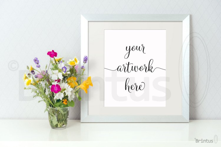 Frame mockup - clean bright interior summer field flowers example image 1