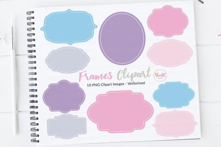 Pastel Digital Frames, Frames Clipart, Digital Labels Clipart