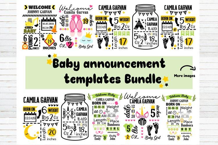 Baby announcement chart template SVG bundle,Baby stat bundle