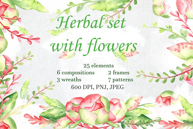 Herbal set with flowers example image 1