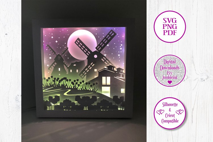 Windmill - 3D Paper Cut Shadow Box