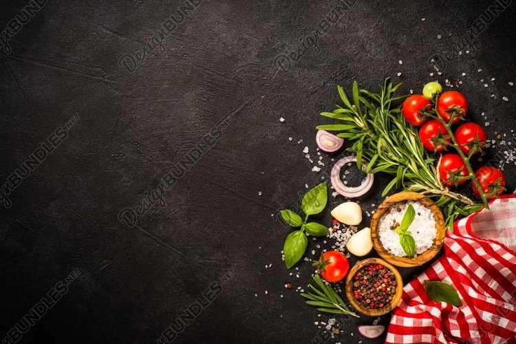 Food background with spices and vegetables.