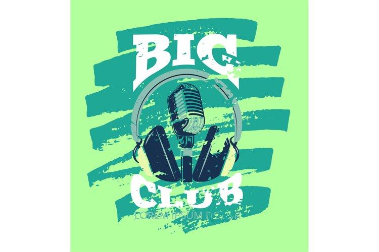 Retro karaoke music club, audio record studio vector logo wi example image 1