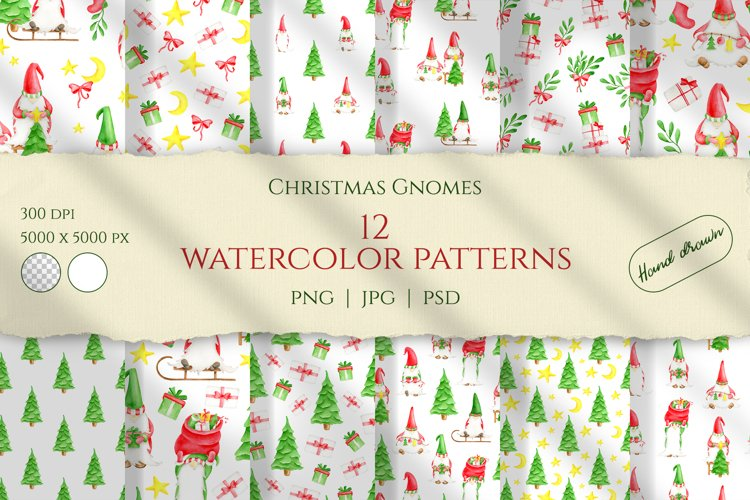 Christmas Gnomes Watercolor seamless patterns. Digital paper example image 1