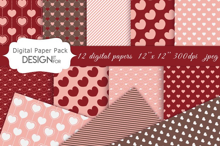 Valentine's Day digital paper pack, love, hearts, patterns example image 1